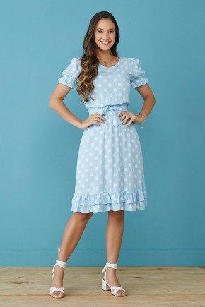 vestido azul claro estampa exclusiva com babados tata martello