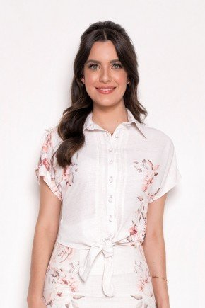 blusa feminina estampada gola polo com amarracao laura rosa cima
