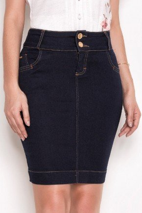 saia jeans justa azul escuro laura rosa baixo