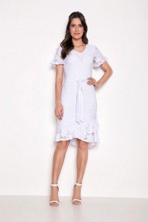 vestido branco em lesie com babados laura rosa