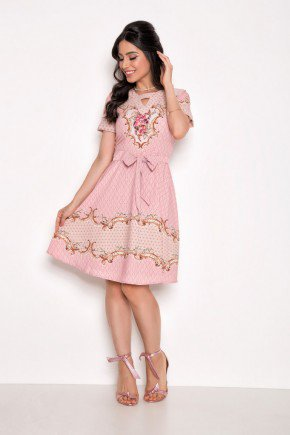 vestido rosa gode estampado laura rosa