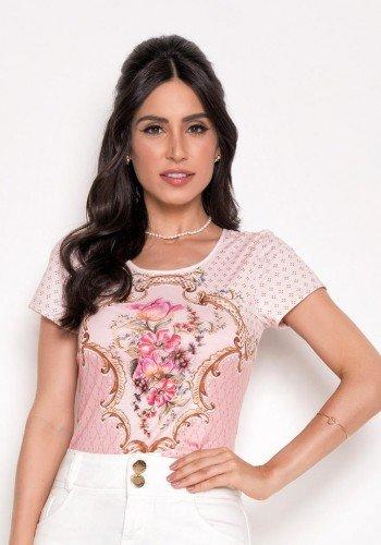 t shirt feminina rosa estampada laura rosa cima