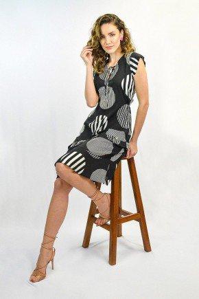 vestido preto estampa maxi poas com babadinhos eloa lekazis ds0425 2