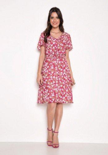 vestido rosa soltinho com florais laura rosa