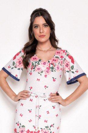 blusa feminina floral em malha laura rosa cima