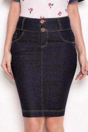 saia jeans marinho costuras aparentes laura rosa baixo
