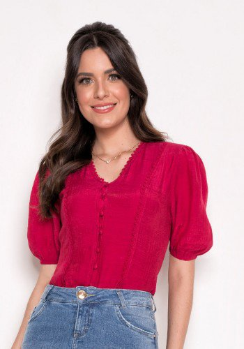 blusa pink detalhe de entremeios e amarracao laura rosa cima