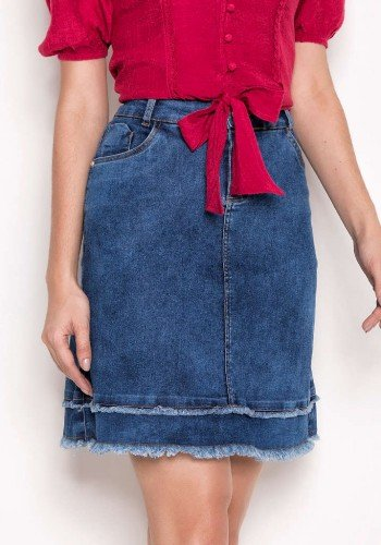 saia jeans evase barrado desfiado laura rosa baixo