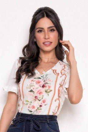 blusa feminina off white estampada laura rosa cima