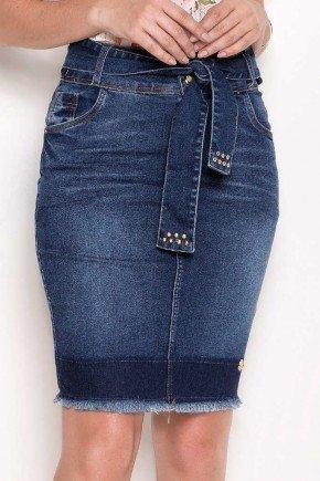 saia jeans barra desfeita com cinto laura rosa frente baixo