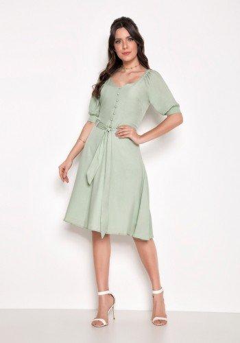 vestido evase verde mangas 3 4 laura rosa