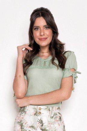 blusa feminina verde detalhe em renda laura rosa cima