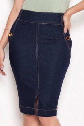 saia jeans costuras aparentes botoes dourados laura rosa baixo