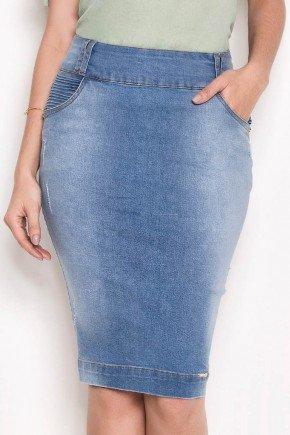 saia azul jeans cintura alta laura rosa baixo