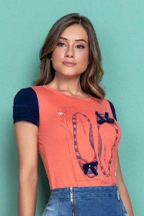 t shirt coral estampada com manga jeans nitido cima