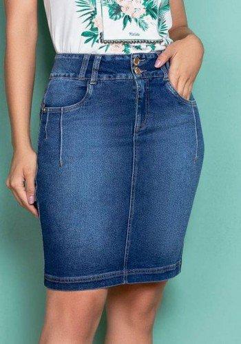 saia jeans cos medio detalhe nervuras nitido