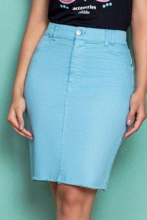 saia jeans color azul bebe nitido jeans