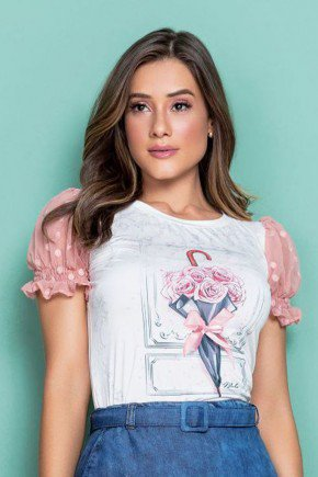 t shirt manga bufante em renda poa rosa nitido cima