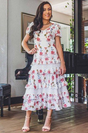 vestido melissa estampa exclusiva com babados jany pim