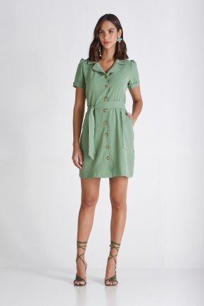 chemise verde abotoamento frontal cloa