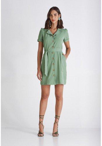 chemise verde abotoamento frontal cloa