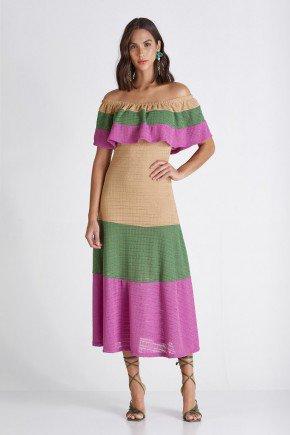 vestido tricolor ombro a ombro tifany cloa