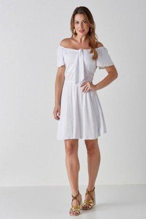 vestido evase off white ciganinha com amarracao ayla cloa