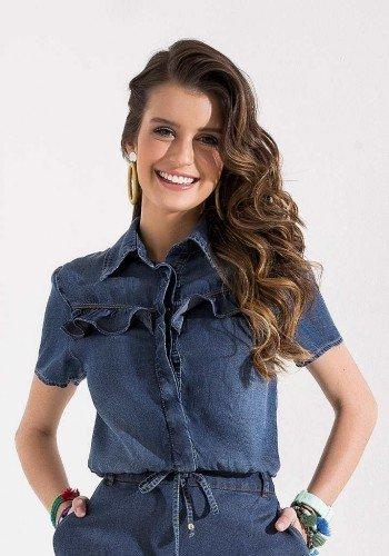 blusa jeans gola polo com babados imperio z cima