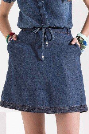 blusa jeans gola polo com babados imperio z baixo