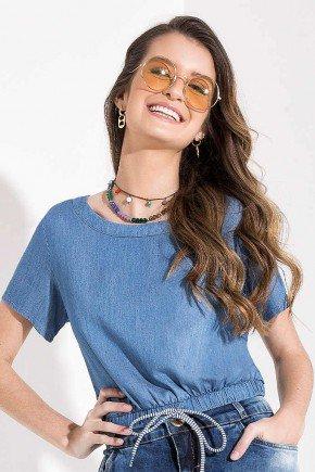 blusa feminina jeans detalhe de amarracao imperio z cdimna