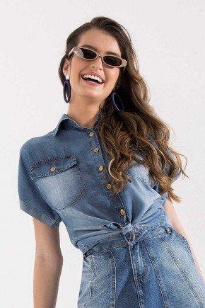 blusa jeans abotoamento em madeira imperio z cima