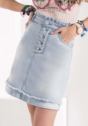 saia evase jeans detalhe botoes imperio z baixo