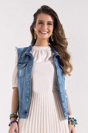 colete feminino jeans detalhes desfiados imperio z cima