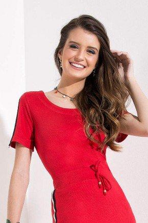 blusa vermelha detalhe listrado nas mangas imperio z cima