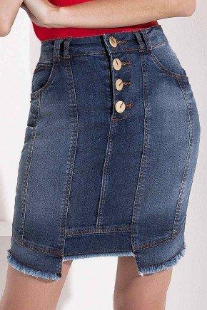 saia jeans recorte frontal diferenciado imperio z baixo