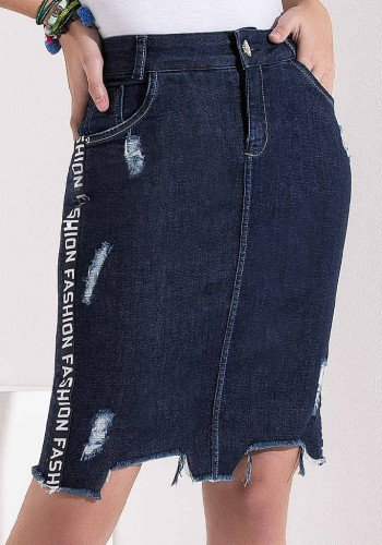 saia jeans marinho recortes assimetricos e galao lateral imperio z