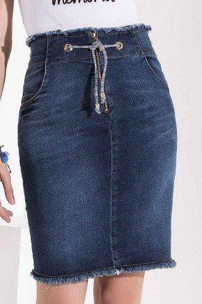 saia jeans detalhe cordao e ilhos com desfiados imperio z baixo