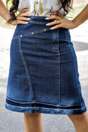 saia jeans evase recortes diagonais raje jeans baixo