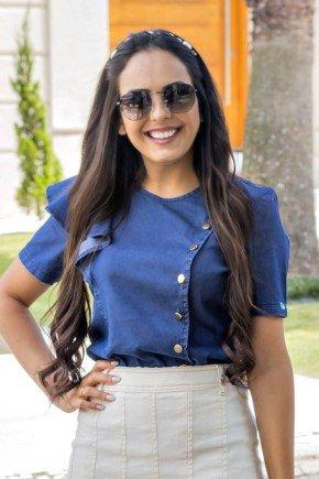 blusa azul escuro babados e botoes dourados raje jeans