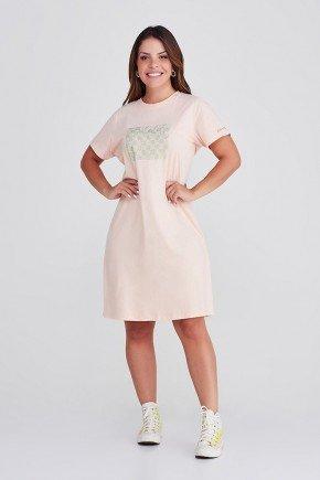 vestido camisetao de algodao na cor salmao com strass da marca epulari frente