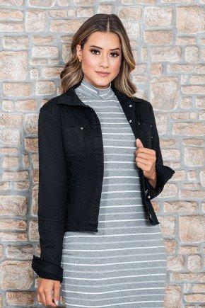 jaqueta jeans preta detalhe corte a fio nitido jeans cima