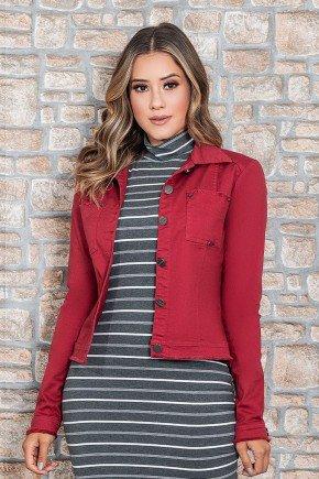 jaqueta jeans marsala detalhe corte a fio nitido jeans cima