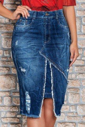 saia jeans recorte assimetrico com desfiados nitido jeans