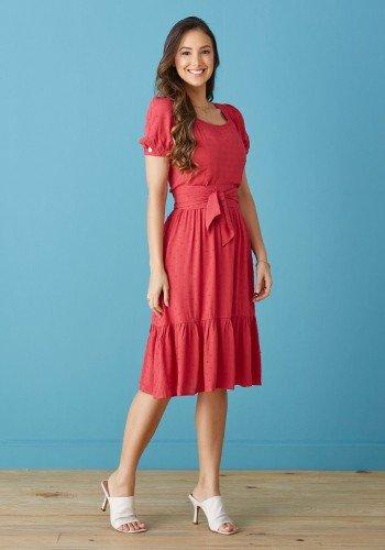 vestido vermelho tecido pipoquinha com babados tata martello