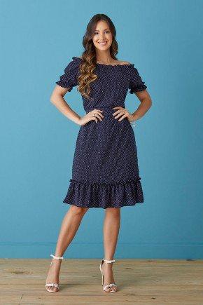 vestido azul marinho ciganinha com poas tata martello