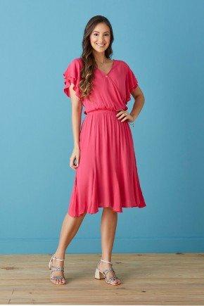 vestido pink transpassado com babados tata martello