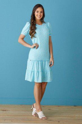 vestido canelado azul claro poas babado duplo tata martello