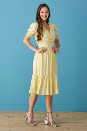 vestido evase amarelo mangas fofas tata martello