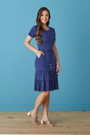 vestido azul marinho com bolsos e babados tata martello