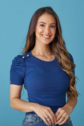 blusa azul marinho mangas princesa tata martello